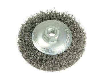 Conical Bevel Brush 100mm x M14 Bore, 0.35 Steel Wire
